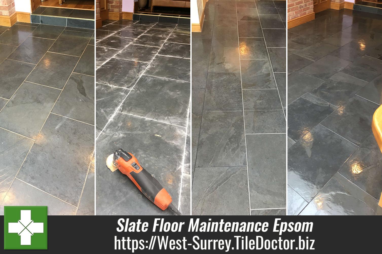 Slate-Tiled-Floor-Before-After-Maintenance-Epsom